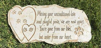 Pawprints Remembered Pet Memorial Stone Marker for Dog or Cat - For Outdoor or -