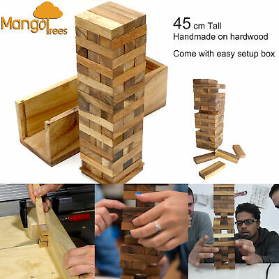 Jenga Blocks Wooden Jumbo TUMBLE TOWER  Handmade Hardwood Mango Trees Brand 45cm