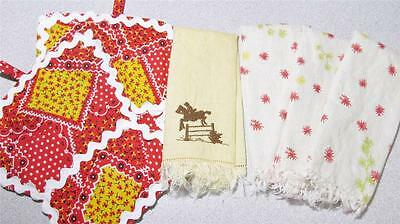 Vintage Kitchen Linens Pot Holders Finger Towels