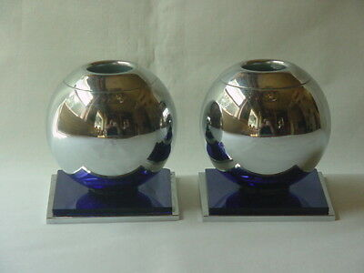 Pair Of Vintage Art Deco Chase Chrome & Cobalt Glass Round Candle Holders