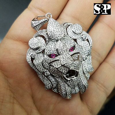 Hip Hop Iced Out White Gold Plated Brass Micro Pave Bling Lion Head Pendant