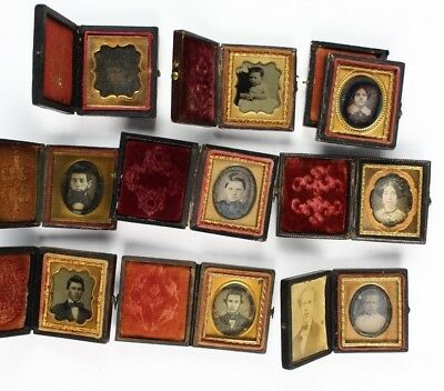 Lot of 9 16th Sixteenth Plate Cased Daguerreotypes & Ambrotypes. Hidden Mother