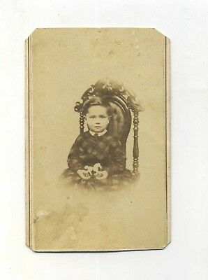 Antique CDV Photo Ripon Wisconsin by Lawrence Boy Holding Horse Pull Toy Proud