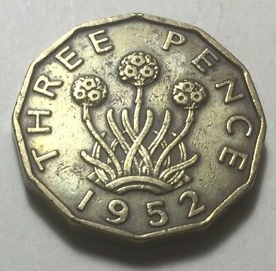 Great Britain 1952 Three Pence Coin - King George VI