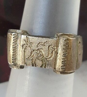 Antique Estate Brass Etched 1943  Tunis Camel Palm Tree Ring Sz 4.5