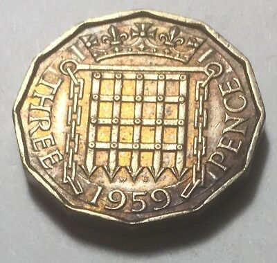 Great Britain 1959 Three Pence Coin - Queen Elizabeth II