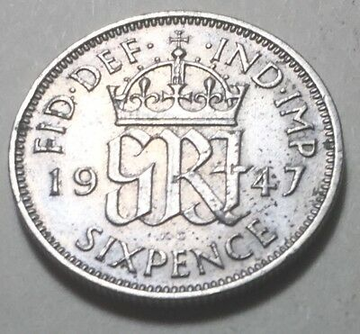 Great Britain 1947 Six Pence Coin - King George VI