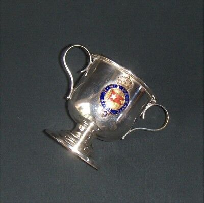 """RMS MAJESTIC SHIP CUP White Star Silverplate Double Handle Footed Base 2 7/8"""""""
