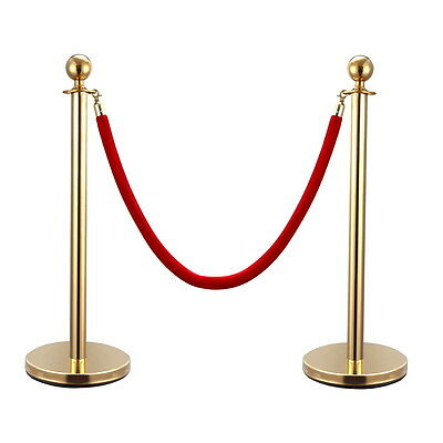 2PCS Gold Stainless Steel Stanchion Posts w/Red Velvet Rope