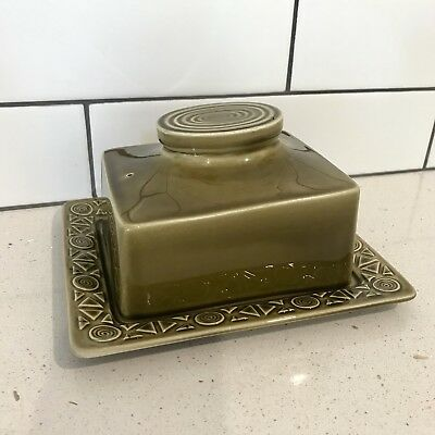 Vintage BESWICK Of England Butter Holder/Tray. Olive Zorba Pattern. Collectable