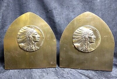 Rare Brass INDIAN CHIEF BOOKENDS ~Calumet Baking Powder Antique old vtg ad Metal
