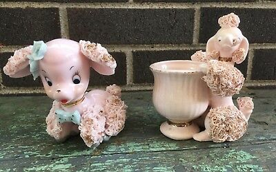 Vintage Pink Poodle Planter and Poodle with blue flowers bow Spaghetti-Ware