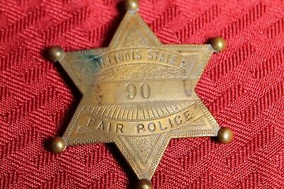 Illinois State Fair Police Badge Brass Security