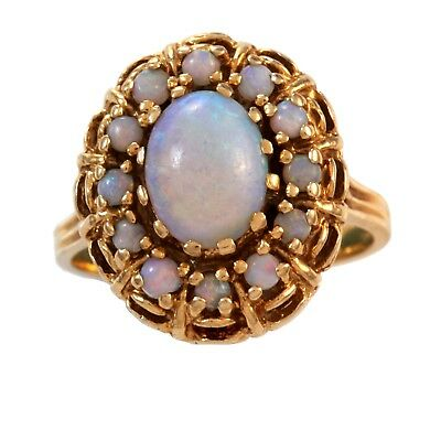 Stunning 14K Gold Vintage Opal Cocktail Ring 2.73 Ct Tw   Size 8.5