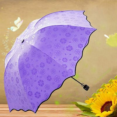 Anti-UV Flower Dome Umbrella Parasol Sun Rain Windproof Triple Folding Umbrella