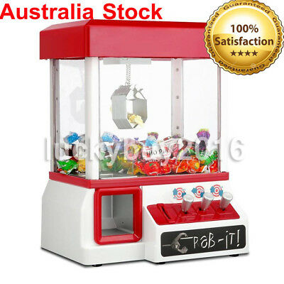 Mini Toy Claw Machine Arcade Game Candy Catch Grabber w/ LED Light & Music Red