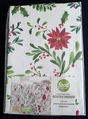 Christmas Holly Pine Poinsettia 60x84 Tablecloth & 8 Napkins Food Network NWT