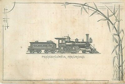 Small Engraved Victorian Tradecard, Pennsylvania Railroad, Ticket Offices, 1878
