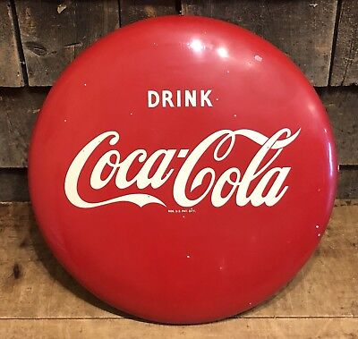 "Vintage 50's Drink Coca Cola Soda 16"" Button For Pilaster COKE Advertising Sign"