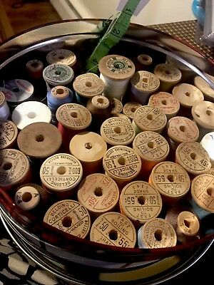 COLORFUL LOT 45 VINTAGE WOODEN SPOOLS OF SEWING THREAD Corticelli Lily Gudebrod
