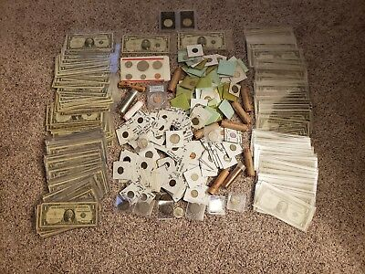 huge coin and currency lot, with lots of silver