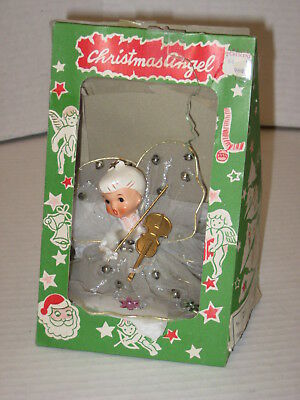 Vintage Japan Ceramic Head Christmas Angel Ornament with Box