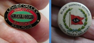 TWO Lehigh Valley Railroad: Antique 1890s Celluloid Pinback & Enamel Safety Pin