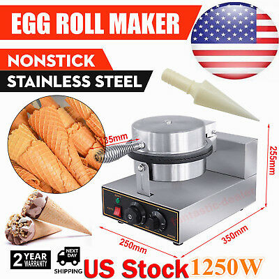 Commercial Electric Nonstick Ice Cream Cone Machine Egg Roll Maker 110V 1250W US