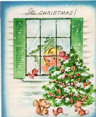 *Front* Pretty Girl Lady Woman Window Tree Bird Snow VTG Christmas Greeting Card