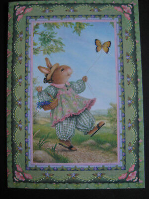 UNUSED vintage greeting card Holly Pond Hill Girl Bunny w/ Butterfly Kite blank