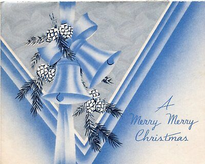 Art Deco Blue White Silver Bells Bell Pine Cone VTG Christmas Greeting Card