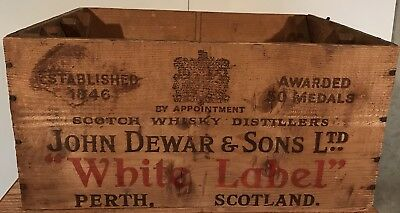 Vtg Dewars White Label Scotch Wooden Crate With Side Racks