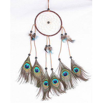 Dream Catcher With Peacock Feather Wall Hanging Home Room Decoration Ornament
