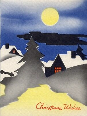 Art Deco Blue Yellow Orange House Home Town VTG Christmas Greeting Card