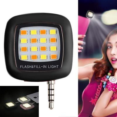 Selfie Fill Flash Light 16 LED Camera Smart 3.5mm For Android iPhone Black AE