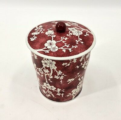 Vintage Daher Cherry Blossom Tin Red White Canister Lid Collectible 1970's