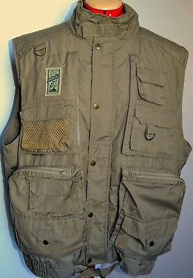 THOMAS COOK Mens Dk Beige Fly Fishing Photography  Hiking Vest Zip & Snap Front