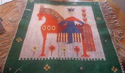 mid-century modern polish pictorial rug man on a horse nice