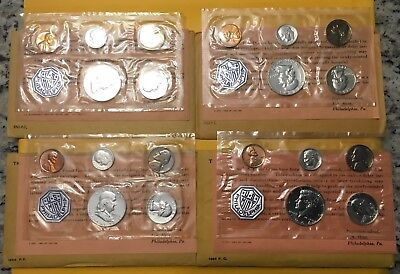 Lot of 4: 1961, 1962, 1963 & 1964 US Mint Silver Proof Sets with OGPs.