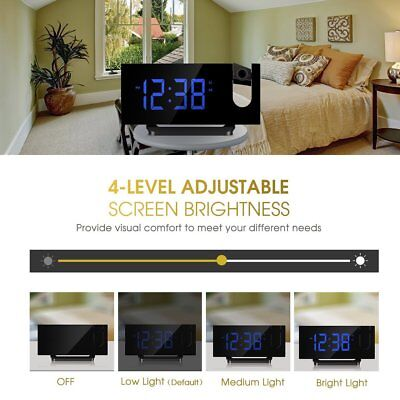 MPOW Digital Projection Alarm Clock Time 5'' LED Display Snooze 12/24 Hours USA