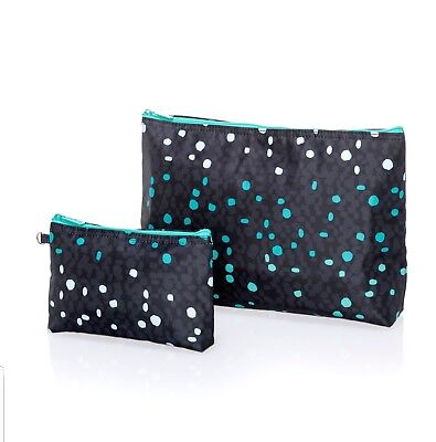 NIP New Thirty One 31 Thermal Zipper Pouch Set Cool Confetti Navy Teal