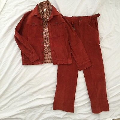 Size 6 Corduroy Suit And Plaid Shirt