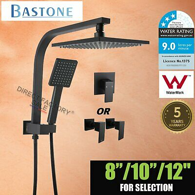 Black Square Shower Head & Handheld Gooseneck Wall Arm Diverter Set 8/9/10/12''
