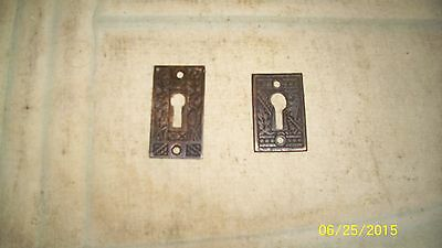 Vintage Antique Lot 2 Brass ESCUTCHEON Skeleton Key Hole Cover Plates  Door