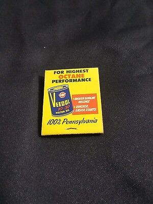 """Veedol"" Motor Oil Gasoline Gas Pump Can Matchbook Chevrolet Coleman, Mi. 48618"