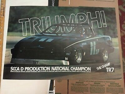 Large Vintage Triumph The Champ TR7 Poster SCCA D Production National Champ pre-