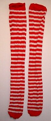 Adult Red & White Striped Above Knee-High Stockings Halloween Cosplay