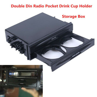 Durable Car Truck Din Double Radio Pocket Drink-Cup Holder Storage Box Black