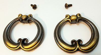 Pair of Vintage Brass Drawer Pulls Handles Single Hole National Lock 2.5' Wide