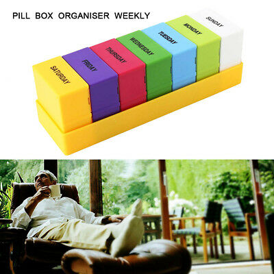 7 DAY LARGE PRINT PILL BOX ORGANISER Weekly Tablet Reminder Storage Case HOLDERS